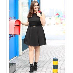 Plus Size Red Plaid Peter Pan Collard Mini Dress